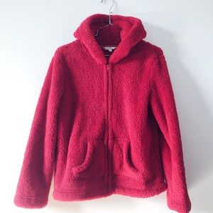 3/20$ Fuzzy teddy full zip red hoodie with pockets